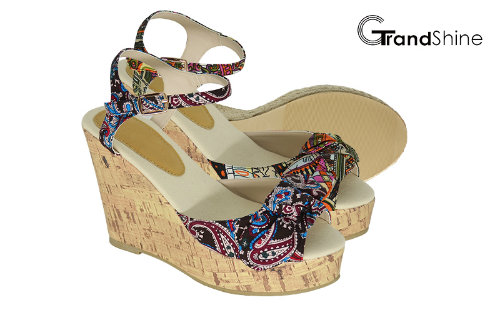 Women's Slingback Strap Platform Cork Wedge Sandals