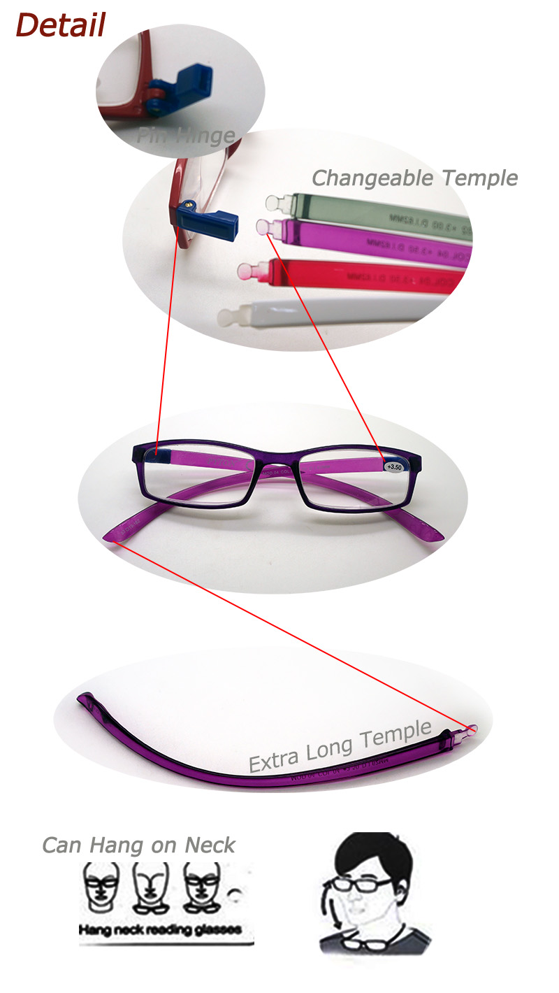 Hot Sales Tr90 Hang Neck Reading Glasses with Changeable Temple (WRP507260)