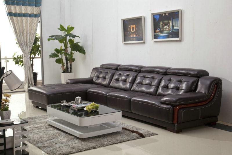 Brown Sofa, L Shape Corner Sofa, Living Room Sofa (985)
