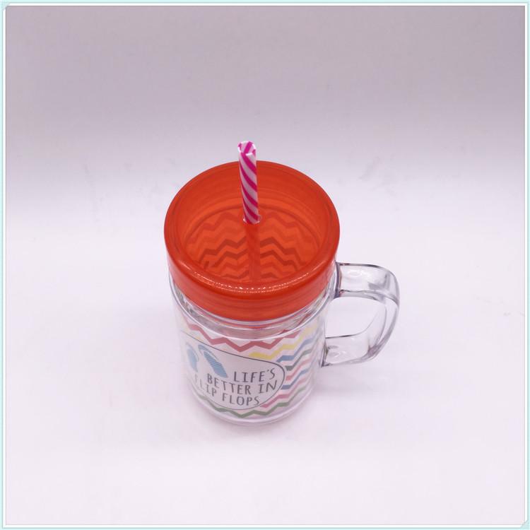 450ml Coffee Mug, Advertising Plastic Travel Mug with Straw (SH-PM31)