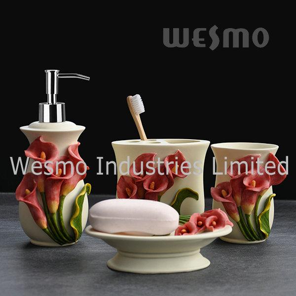 Flowery Polyresin Bathroom Set (WBP0965A)