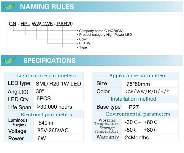 LED Spotlight Bulb (GN-HP-WW1W6-PAR20)