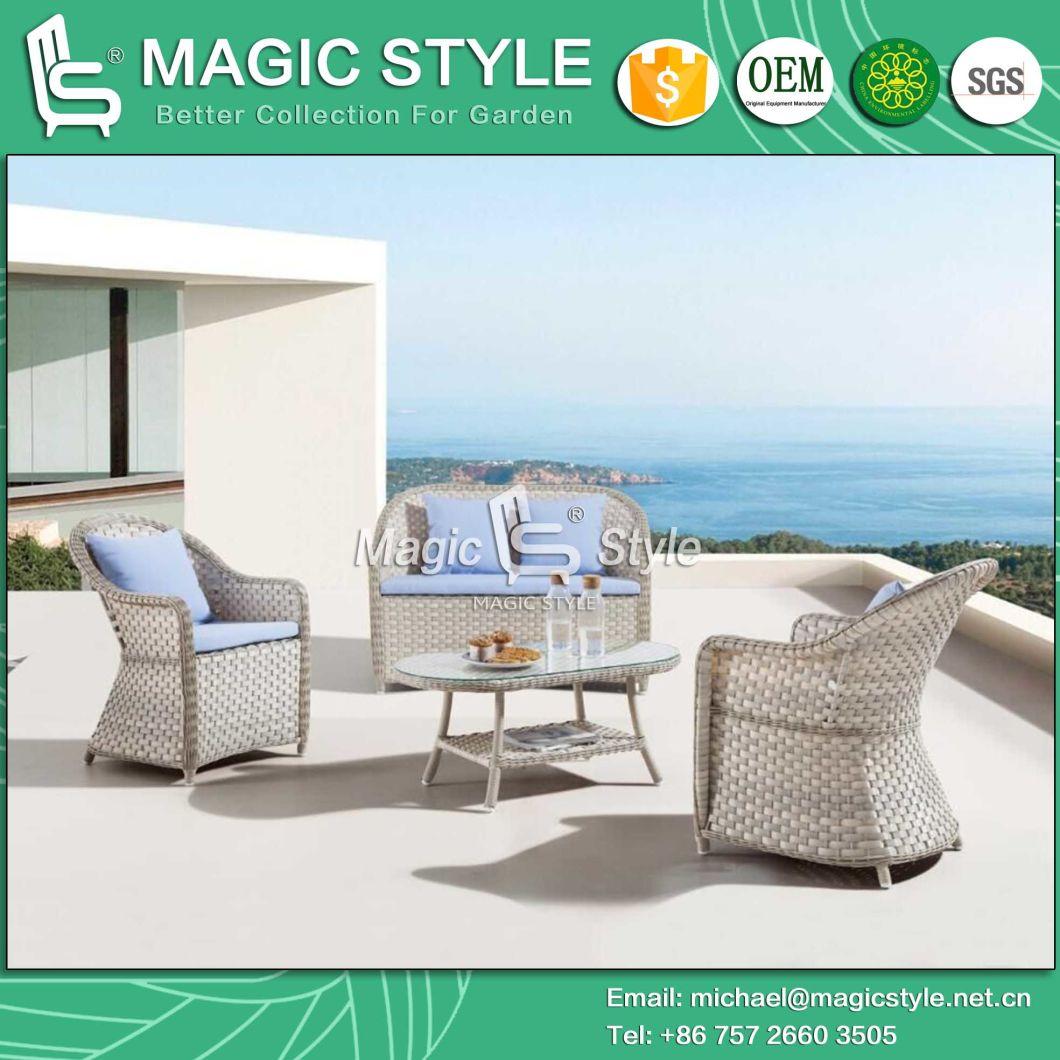 Garden Wicker Coffee Chair Rattan 2-Seat Chair Patio Wicker Tea Table Patio Weaving Chair Outdoor Weaving Chair with Cushion Club Wicker Double Chair