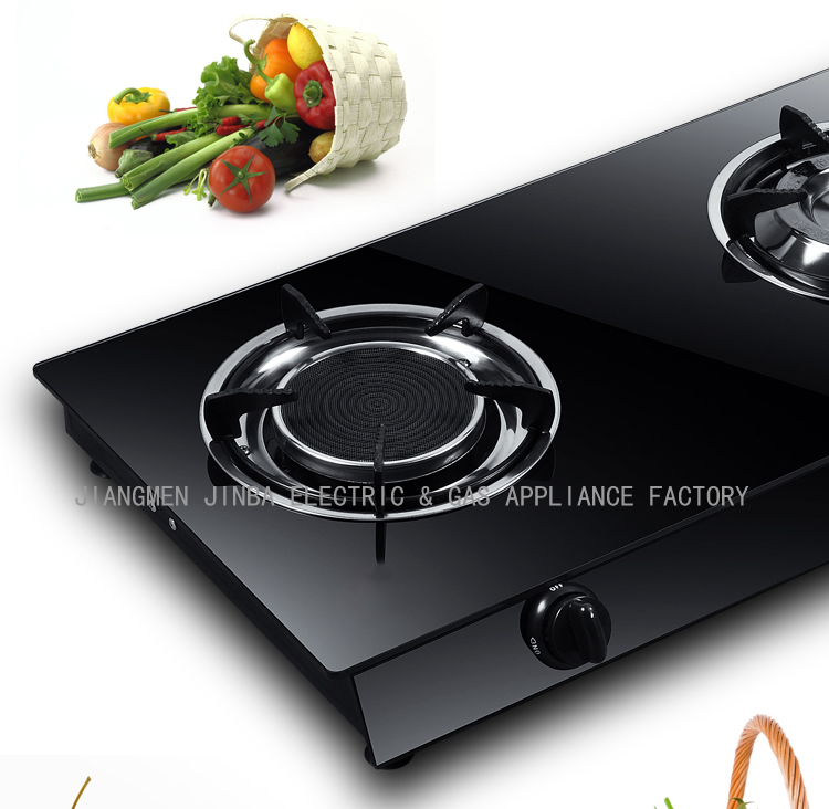 2 Burners Tempered Glass Top Brass & Infrared Gas Cooker/Gas Stove