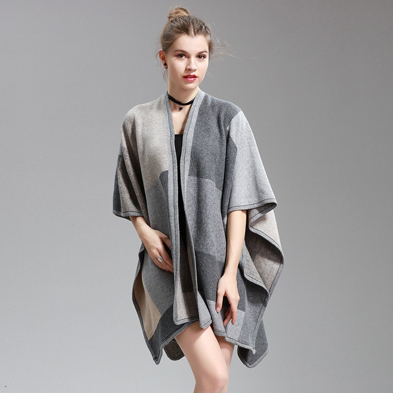 Womens Cashmere Feel Checked Printing Fancy Cape Stole Poncho Shawl (SP296)