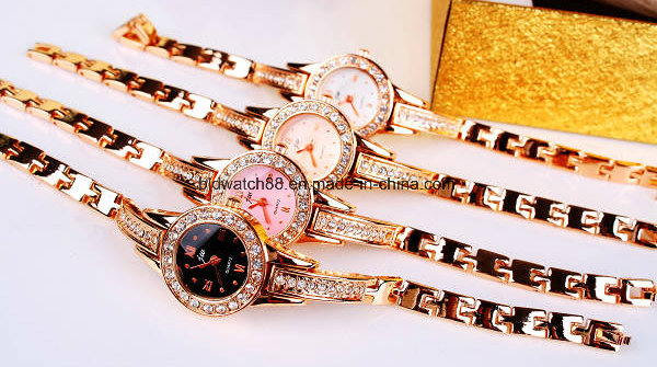 Wholesale Women's Fashionable Gold Bracelet Watch for Ladies Girls