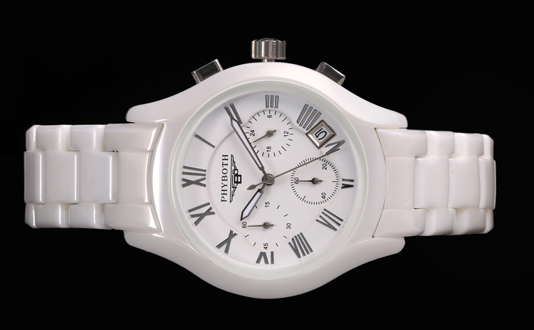 Glatt White Ceramic Watch for Men and Women
