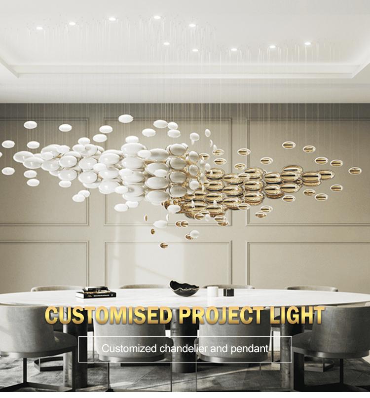 Moderne hôtel personnalisé villa hall salle à manger décoration grande taille lustre pendentif lumière