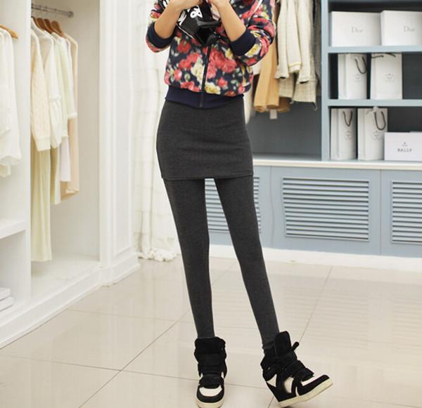Fast Delivery Fashion Women Black Cotton Skirt Leggings (SR8202)