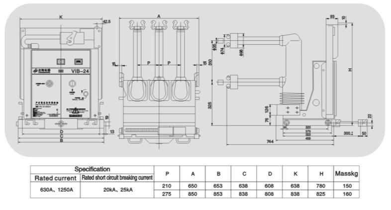 Vib-24 Indoor Hv Vacuum Circuit Breaker with Embedded Poles