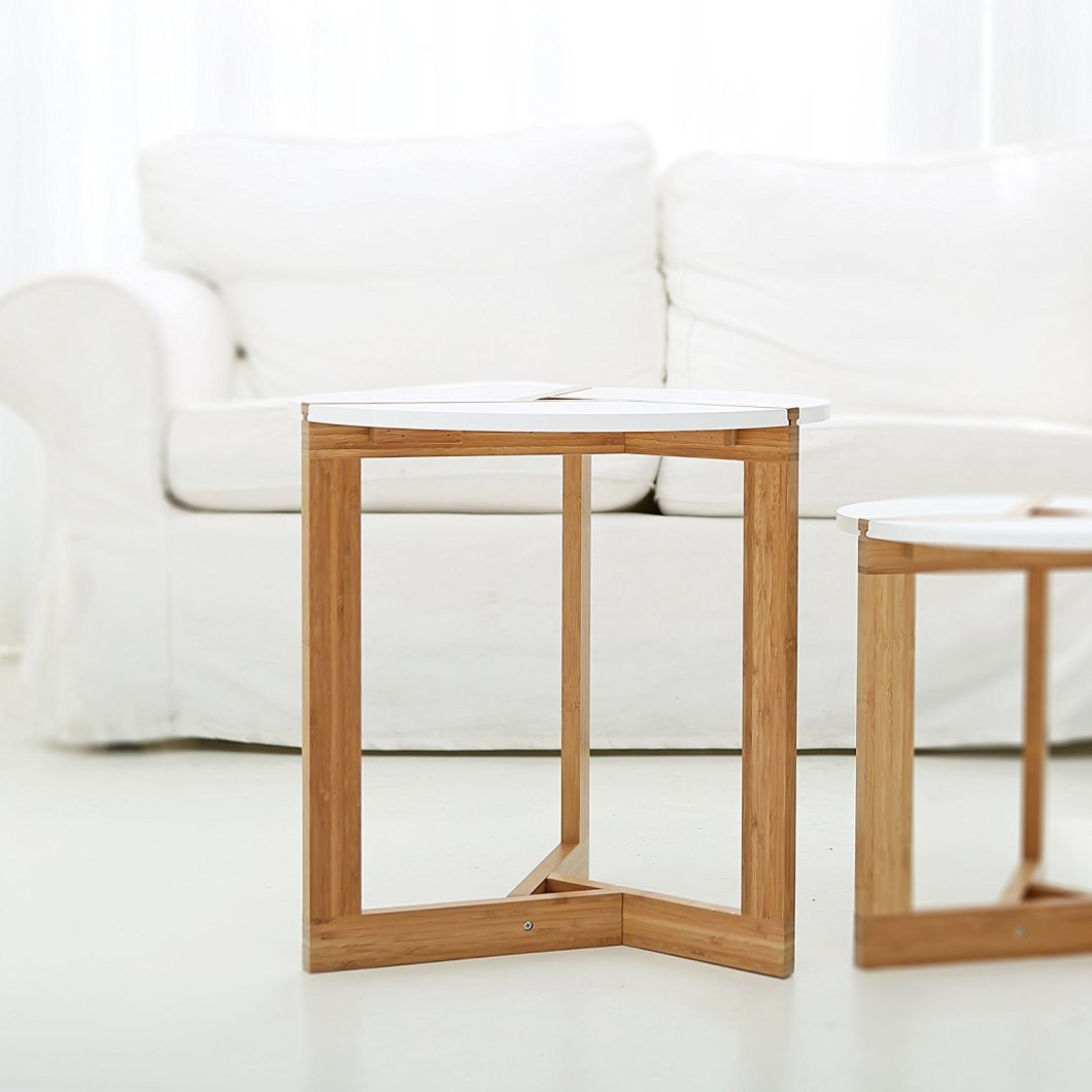 Eco-Friendly Side Table Three Legged Bamboo End Table Modern Round Coffee Table
