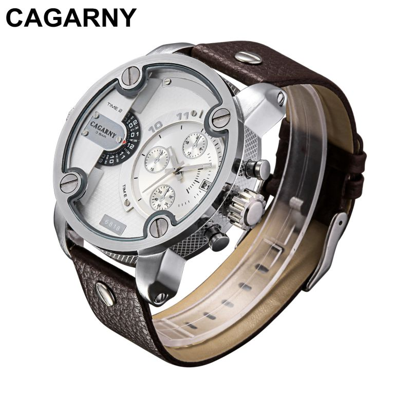 Double Movement Wrist Watch for Men with Pushers Silver Case Leather Strap