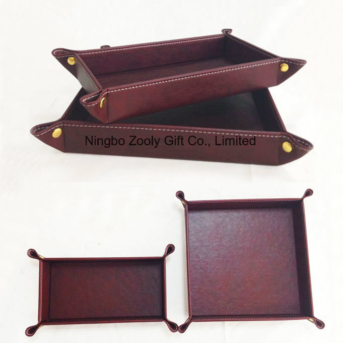 Customized Logo Faux Leather Desktop Snap Key Tray