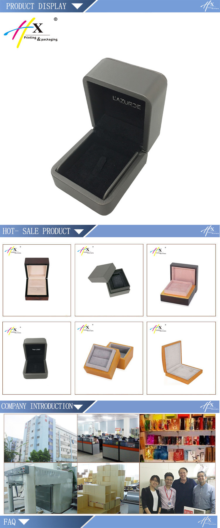 Factory Price Velvet Leather Jewelry Ring Box with Logo