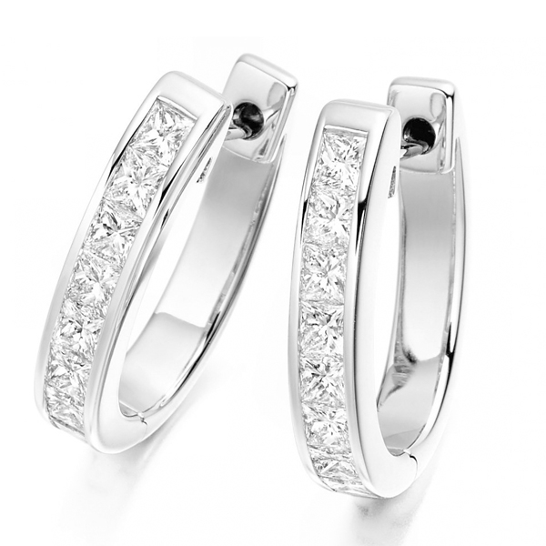 Princess Cut Cushion CZ 925 Silver Hoop Earrings Jewelry for Women