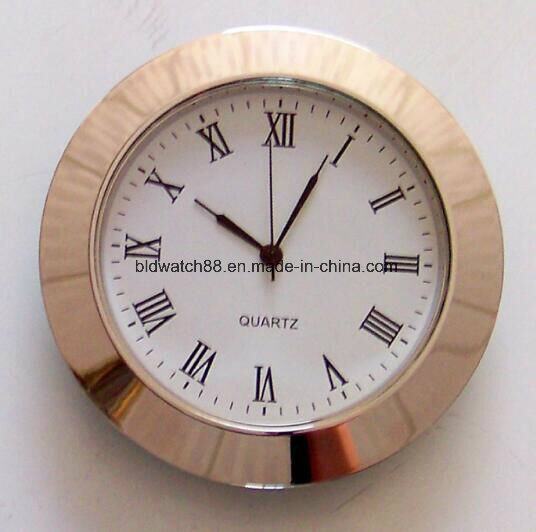 Gold Plated Small Mini Metal Insert Clock 27mm