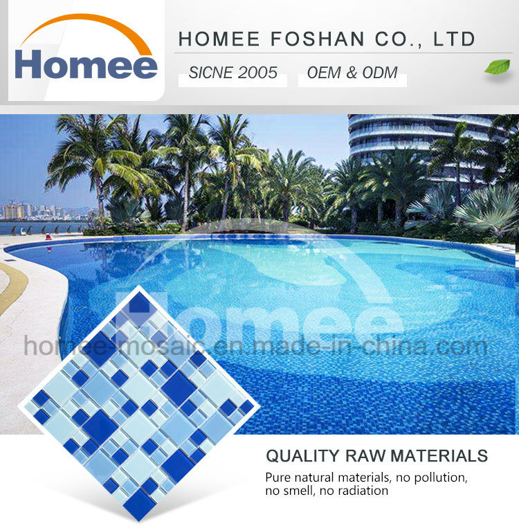 Glossy Deep Blue Square Material Glass Mosaic Swimming Pool Tile