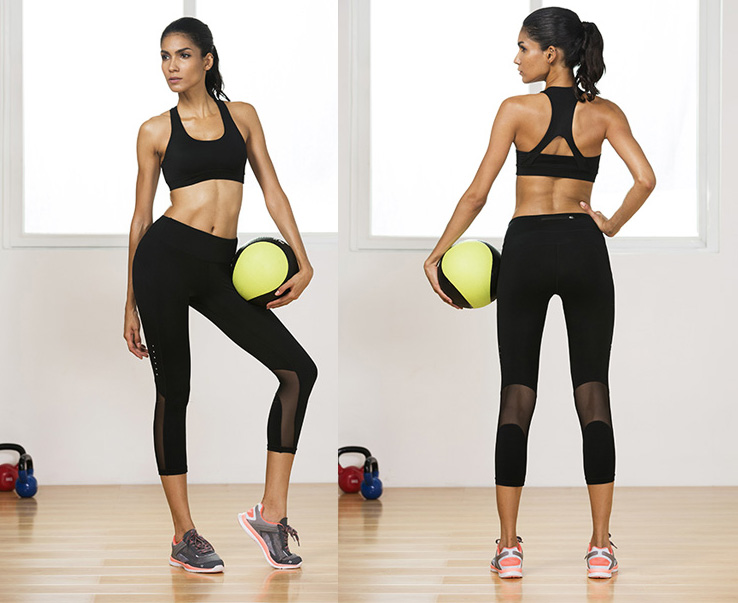 Spliced Mesh Hidden Pocket Breathable Cotton / Spandex Blend Capri Legging
