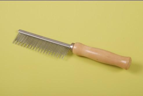 Wooden Handle with Steel Comb for Pet Grooming