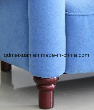 Contracted and Contemporary Sitting Room Office Hotel Three Creative Fashion Sofa Blue Cloth Art Sofa Real Wood Modern Sofa (M-X3290)
