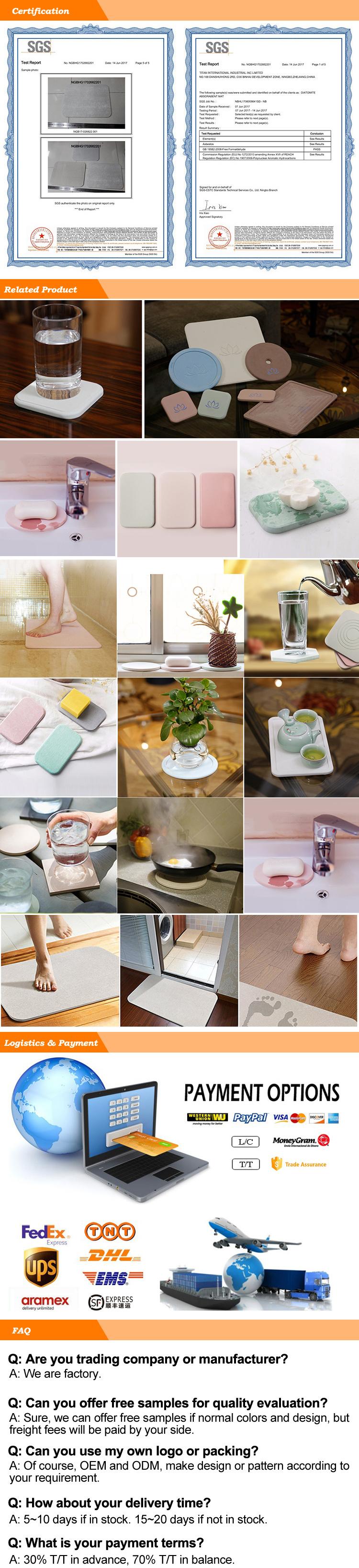 Thin Anti-Slip Diatomaceous Bath Mat Durable Reuse Diatomite Bathroom Mat