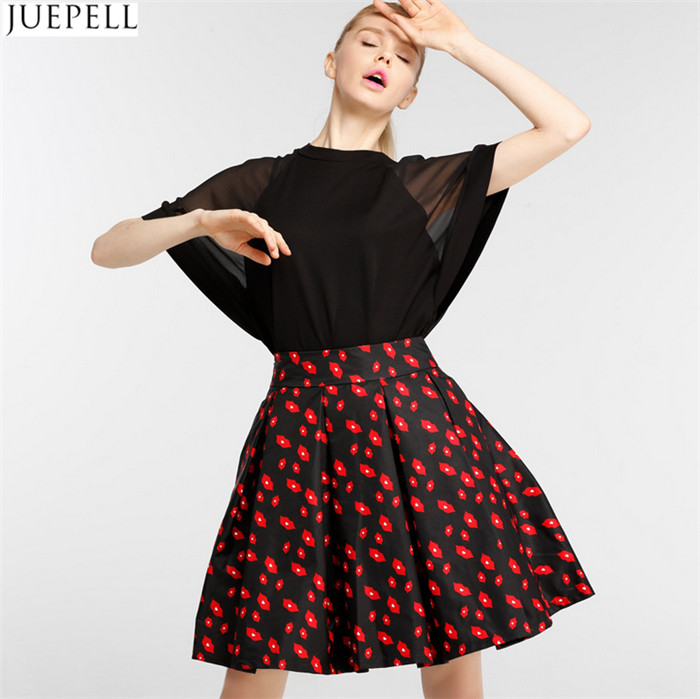 Autumn New Women High Waist Skirts Brand in Europe and America Temperament Put on a Large Floral Skirt a Word Tutu