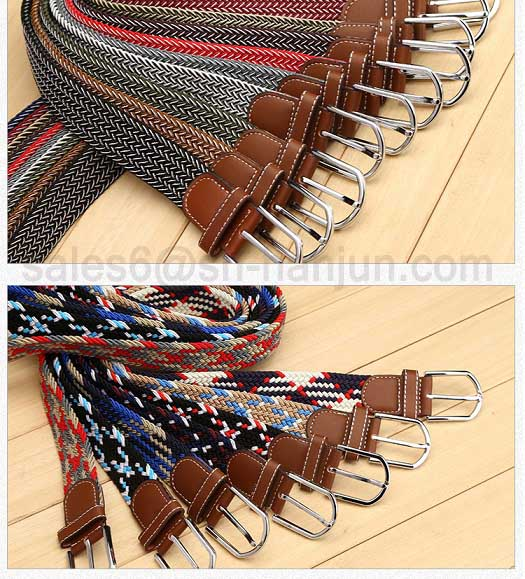 Hot Selling Split Leather Combine Polyester Braided Stretch Elastic Belt