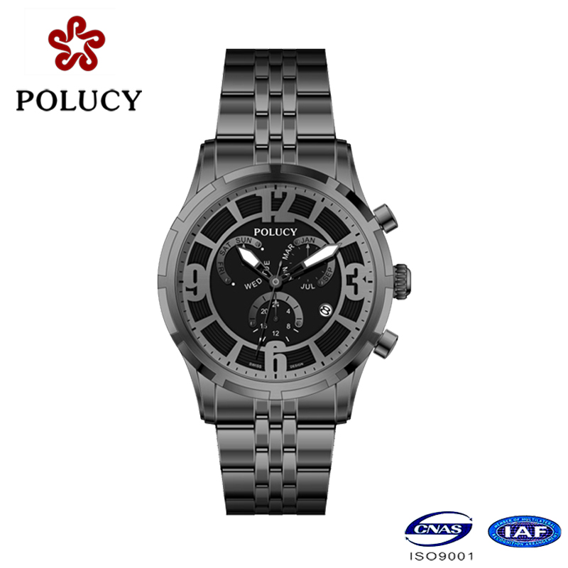 Chronograph Black Stainless Steel Men's Watches