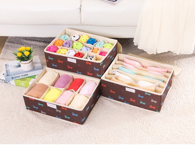 Brown Nylon-Oxford Storage Bag Socks/Bra Storage Box
