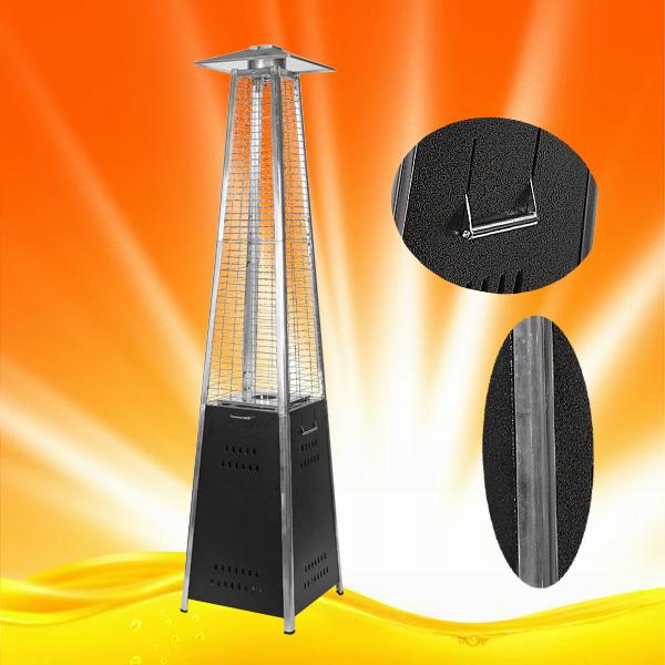 H1502 Quartz Glass Tube Pyramid Black Steel Patio Heater