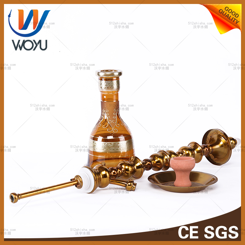 Stainless Steel Water Pipes by Hand High Pole Water Pipes of Yanju Shisha Tobacco Smoking Shisha Charcoal Device Is Yellow