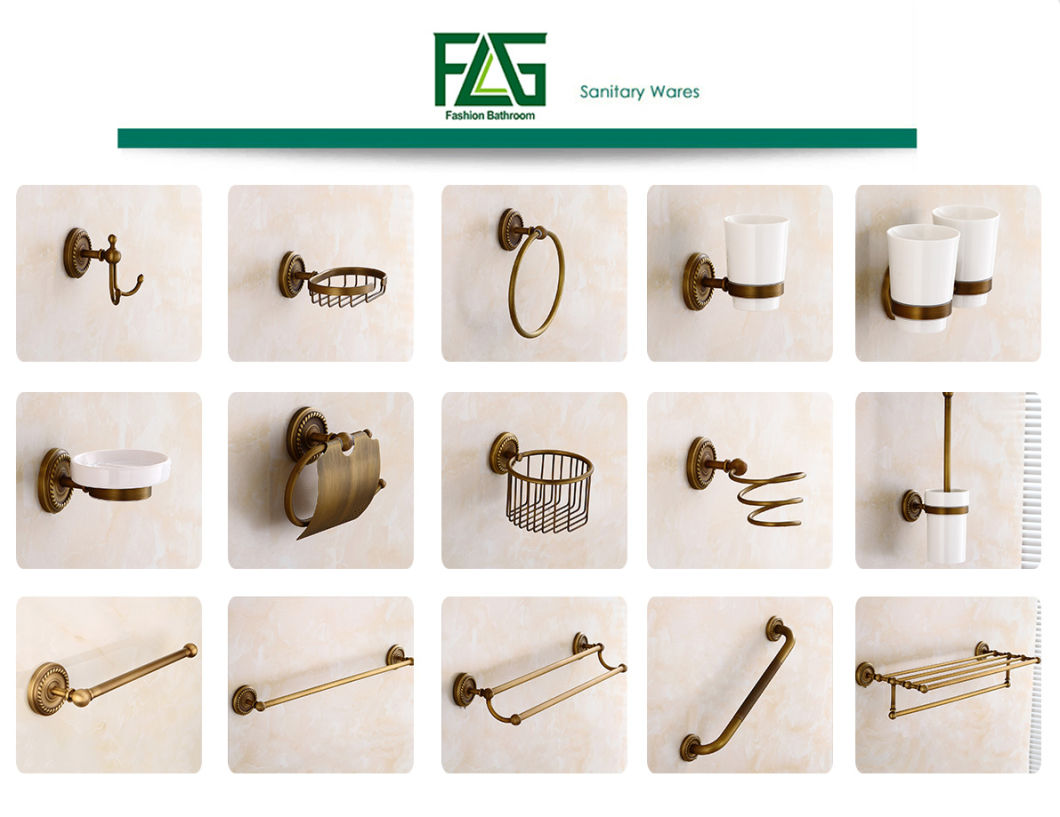 Flg Antique Bathroom Double Towel Bars with Solid Brass
