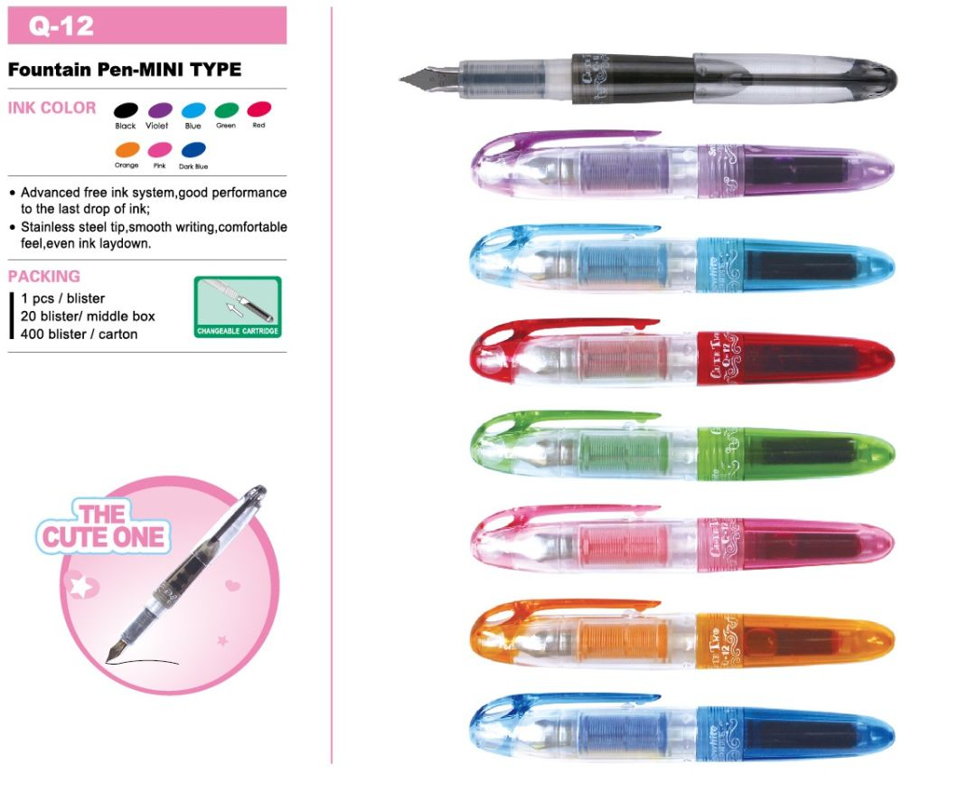 Customized Logo Promotional Gift Fountain Pen Q12f From Snowhite Colorful Ink