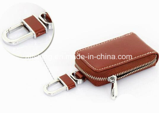 Leather Key Wallet -Premium Zipper Genuine Leather Car Keychain for Benz