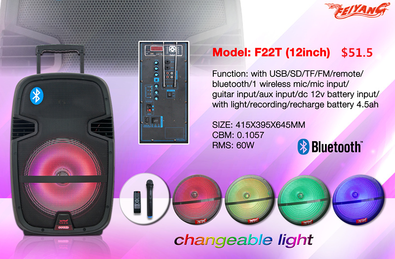 New Portable Audio Professional Musical Speaker Mobile Bluetooth Speaker Box with NFC Speaker F23