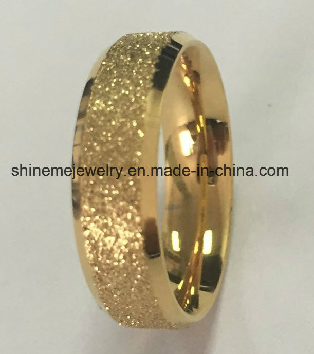 Shineme Body Jewley High Quality Roll Sand Gold Plated Jewelry Ring (SSR2793)