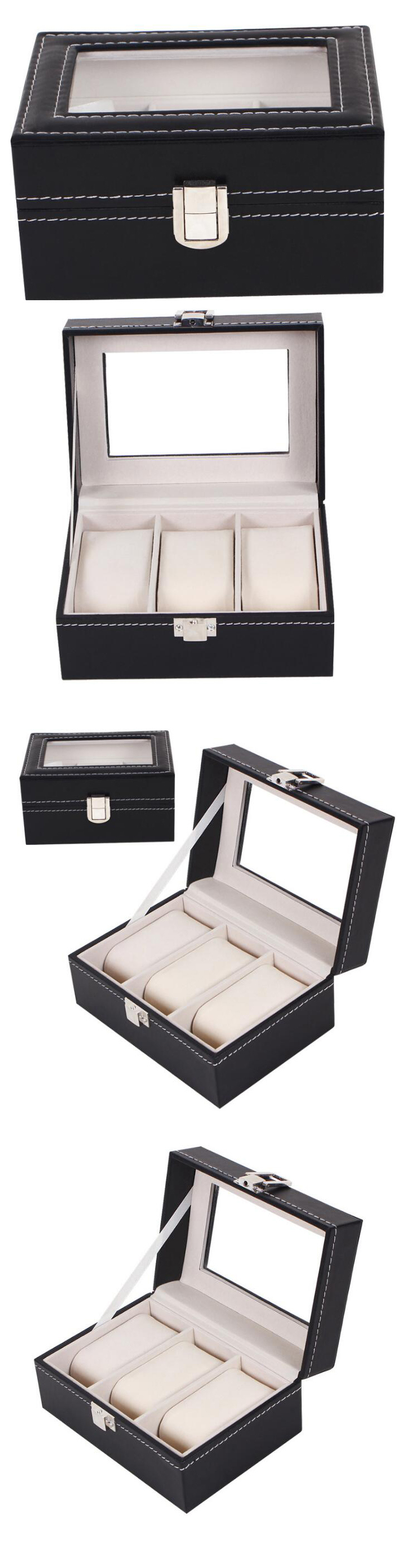Spot Supply High Quality 3 Slots PU Leather Black Watch Storage Box, Wholesale Ready Stock PU Leather Watch Organizer Storage Case Jewelry Watch Box