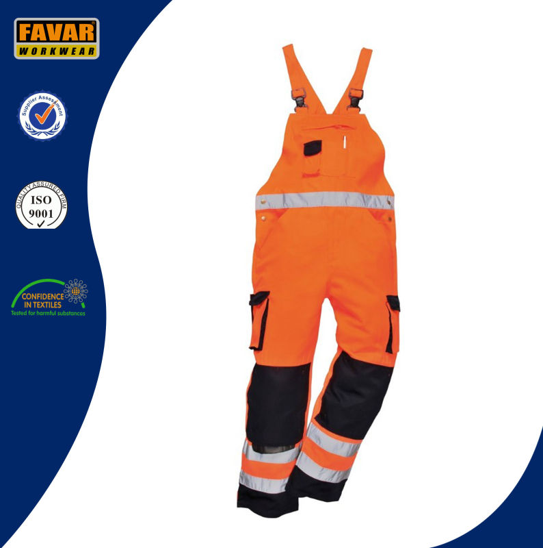 En471 High Vis Cotton Safety Workwear Overall Bib Brace