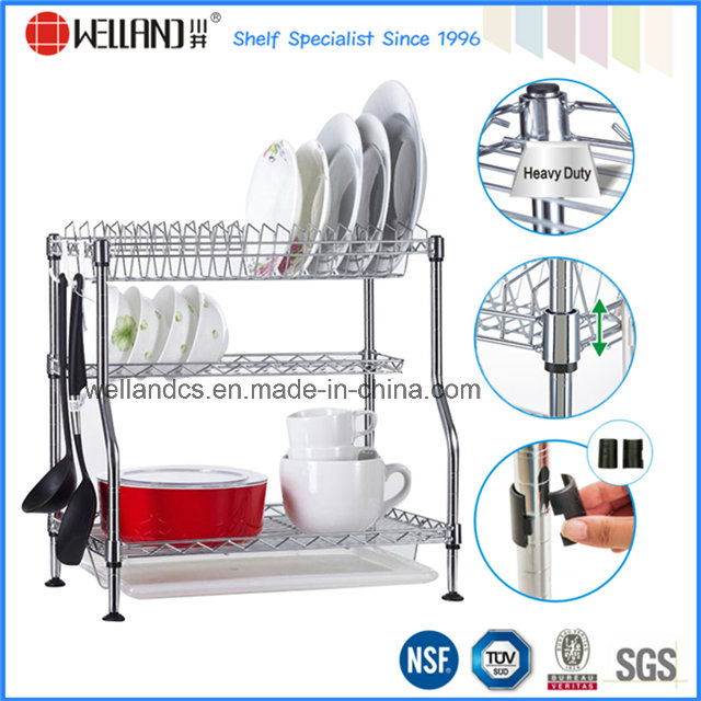 Patented Adjustable Chrome Metal Kitchen Dish Drying Rack, Plate Rack