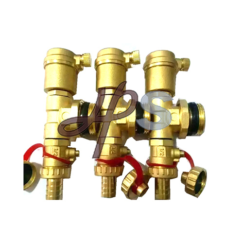 Brass Air Vent Valve with Tee and Beer Valve for Heating Manifold