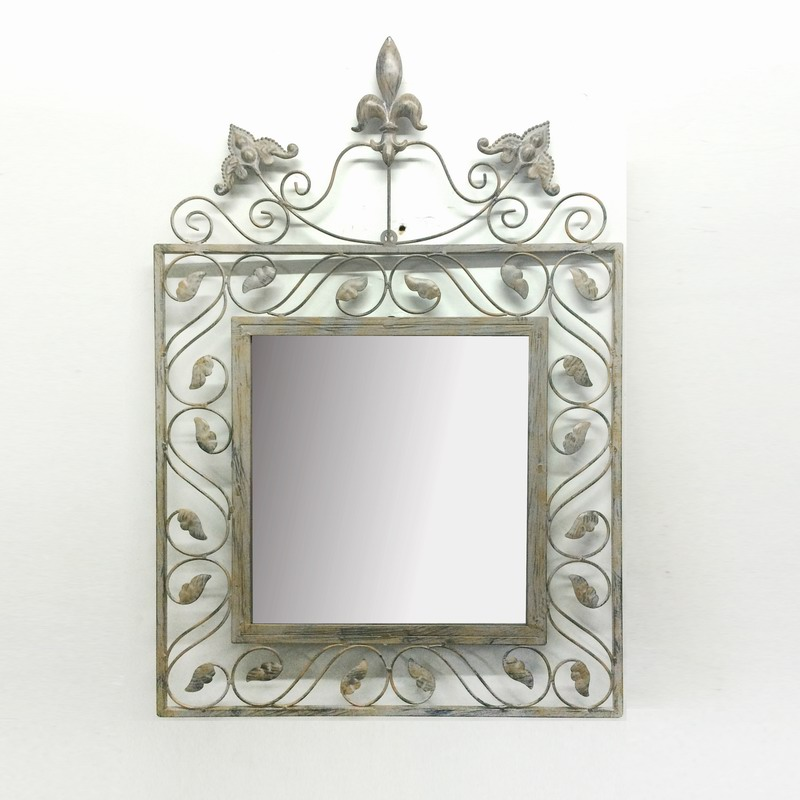 Antique Metal Wall Art Decoration Leaves Mirror