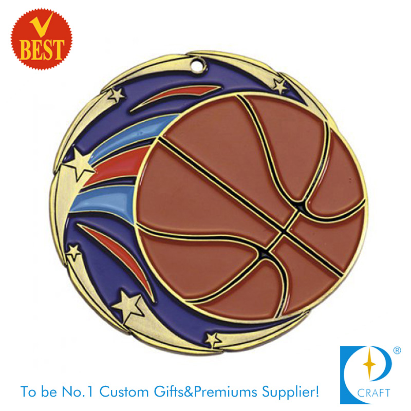 Wholesale Copper Custom Logo Baking Varnish Basketball Medal From China