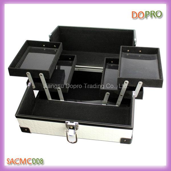 Vanity White PU Leather Makeup Kit Box with Good Price (SACMC008)