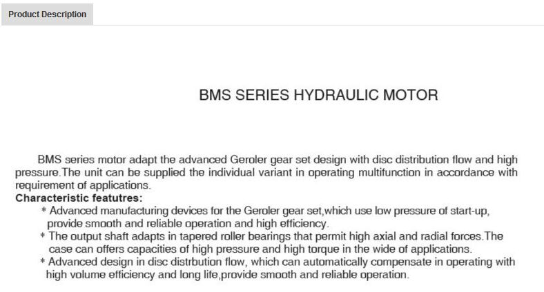 Hydraulic Orbit Motor BMP / Bmr / BMS Series