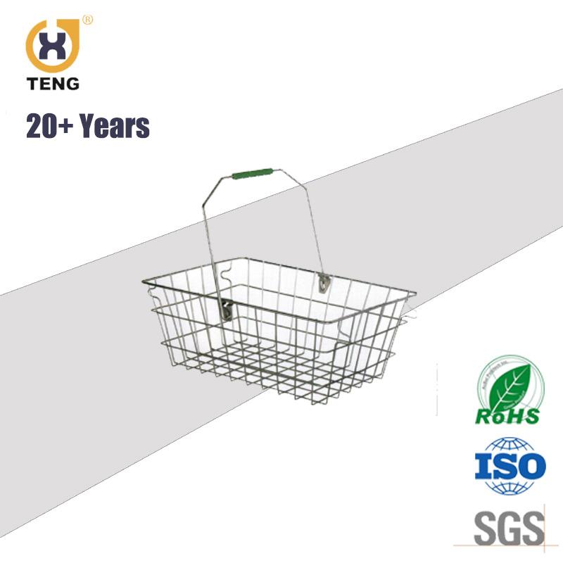 28L Single Handle Metal Shopping Basket for Supermarket or Store