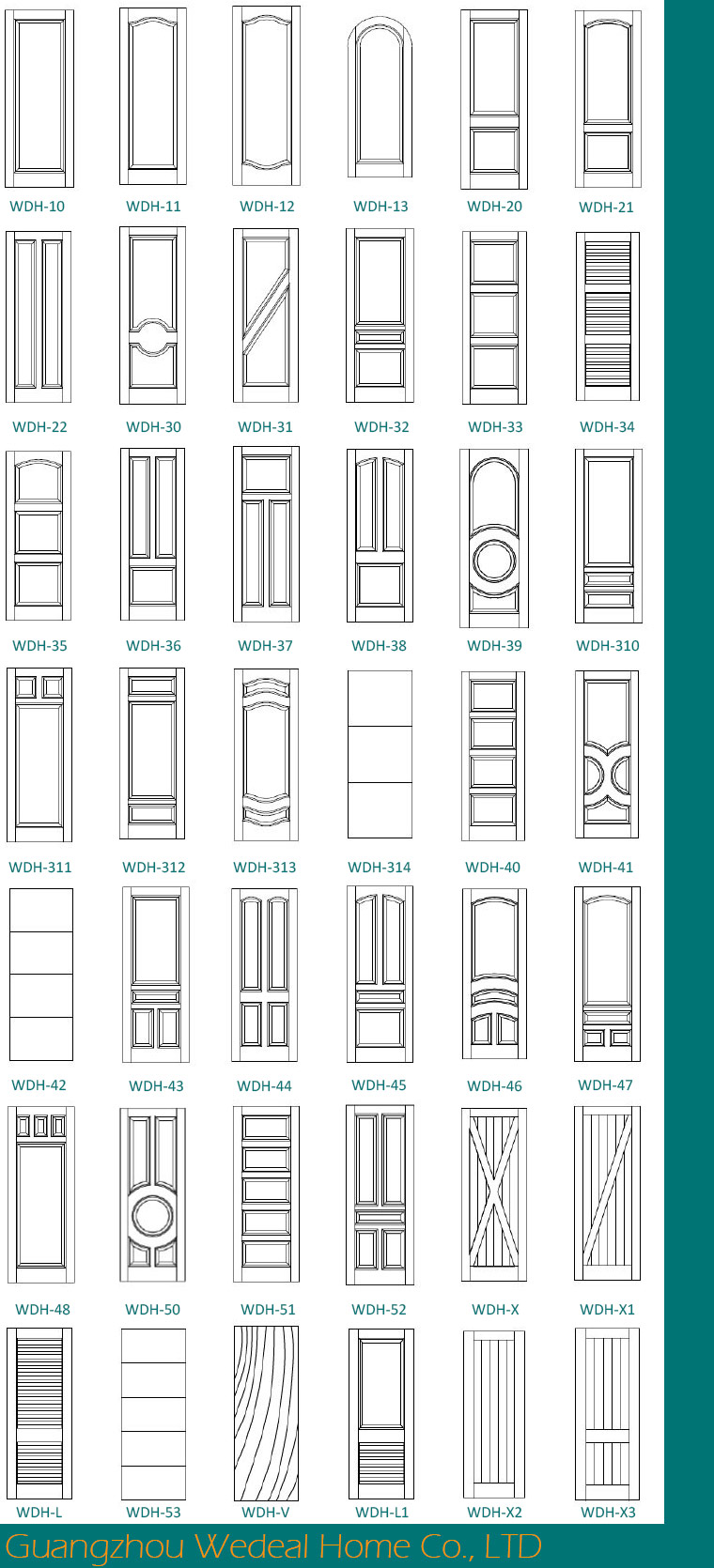 Modern American Three Panel White Primed Interior MDF Door