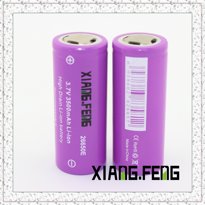 3.7V Xiangfeng 26650 3500mAh Icr Rechargeable Lithium Battery Battery Model