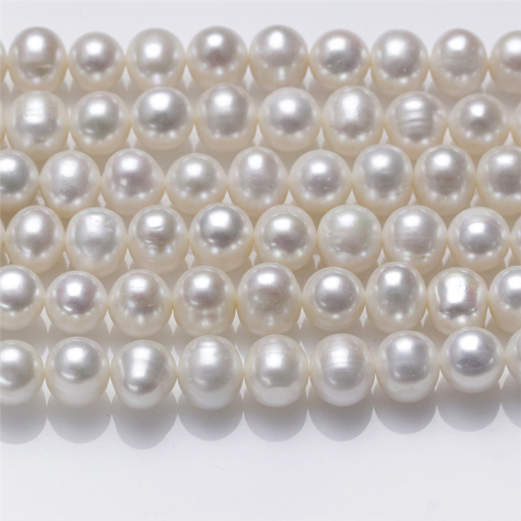 10mm AA Semi Near Round Large Size Real Fresh Water Freshwater Pearl Beads String Pearl Strand