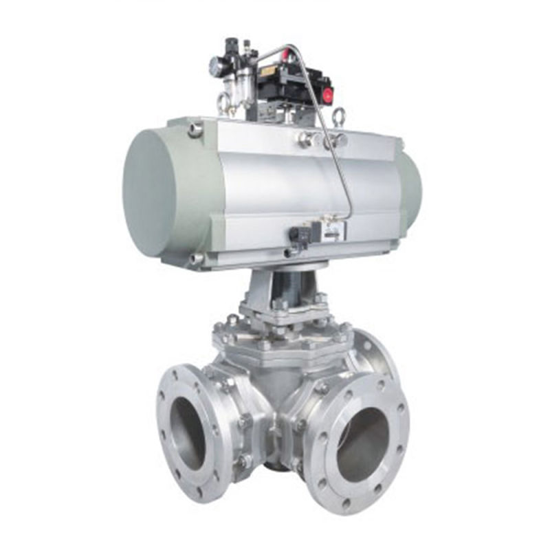 Three-Way Flanged Ball Valve with RackΠnion Pneumatic Actuator