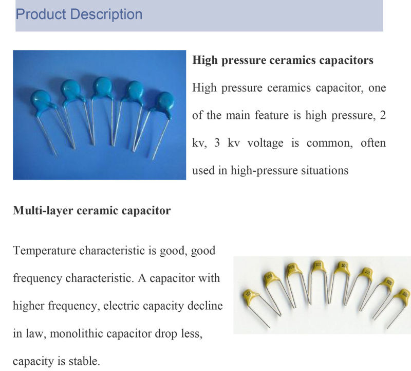 Pass RoHS Safety High Quality Blue Ceramic Capacitor